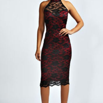 Serena Contrast Lace Halterneck Dress