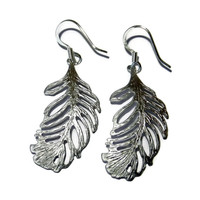 White Gold Filigree Feather Dangle Earrings