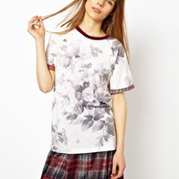HOUSE OF HACKNEY for ASOS Boyfriend T-Shirt with Contrast Trim in London Rose Print
