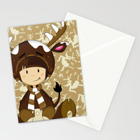 Cute Reindeer Girl Stationery Cards by markmurphycreative
