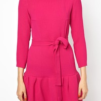 Sonia by Sonia Rykiel Crepe Dress with Drop Waist and Tie Belt