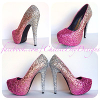 Blush Ombre Glitter High Heels