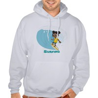 Girl surfer cartoon hoodie
