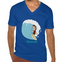 Girl surfer cartoon T-shirt