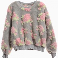 Gray Fluffy Floral Print Sweater