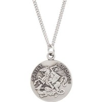Sterling Silver St. George Medal With 18 Inch Chain - 18mm - JewelryWeb