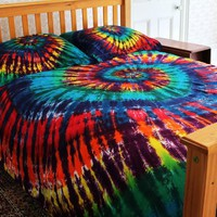 300tc Duvet Cover Set - Extreme Rainbow Spiral Tie-Dye - Full/Queen Size