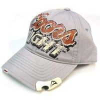 Coors Light Brewing Label Beer Bottle Opener Silver Bullet Baseball Hat Ball Cap