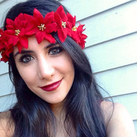 Red flower Crown. Christmas flower crown accessory.