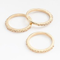 LC Lauren Conrad Gold Tone Simulated Crystal Stack Ring Set