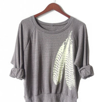 Cocoa Raglan Pullover with Pale Yellow Feathers