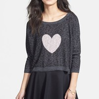 Truehitt Heart Graphic Marled Sweater (Juniors) | Nordstrom