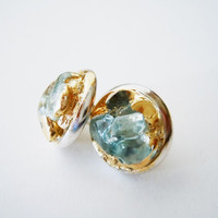 Blue Topaz Stud Earrings - Silver Plated - Gilded in Gold-Natural Glam