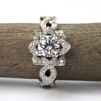 EVER BLOOMING LOVE - 1.75 carat Diamond Engagement Flower Ring - Infinity - Gorgeous Unique Rose - Lotus - fL06