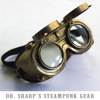 Gold Metallic Finish Steampunk Goggles by Dr. Sharp