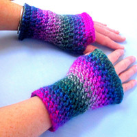 Handcrafted Holiday Fingerless Mittens for Her, Warm Holiday Striped Mittens
