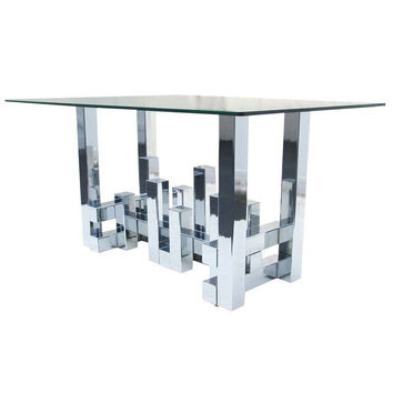 Paul Evans Style Cityscape Dining Table Desk Console Chrome
