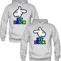 my bitch my dick Couple Hoodies - TeeeShop