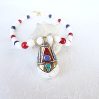 Nepalese White Onyx,Red Coral,Lapis Lazuli Necklace, Tibet Necklace, Statement Necklace Tribal Jewelry OOAK Jewelry