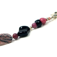 Pink Marble Purse Charm, Key Fob, Zipper Pull, Black, Beaded, Scissor fob