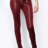 Wine Faux Snake Pants