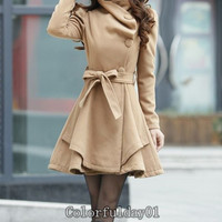 Women's Khaki Color Princess style cape dress Coat jacket with belt Apring autumn winter coat Spring jacket cute coat S,M,L,XL,XXL