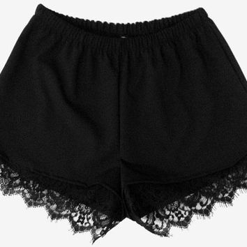 HypoxicAndLost - Handmade - Black Lace Trim Shorts