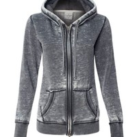 J. America Ladies Vanity Zen Fleece Full-Zip Hooded Sweatshirt. 8913