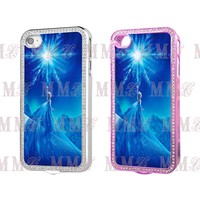 DISNEY PRINCESS FROZEN Diamond ♥ Crystal for Iphone 4  4s Pink Silver Hard Case