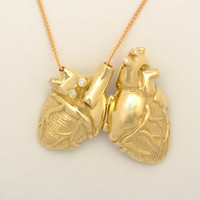 Gold Anatomical Heart Locket