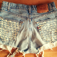 High Waist Levis Denim Shorts with Wave pockets ETSY
