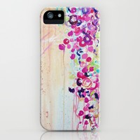 DANCE OF THE SAKURA Cherry Blossoms iPhone 4, 4s, 5, 5s, 5c Case, Fine Art Custom Hard Plastic Cell Phone Case, Floral Pink Purple Abstract Japanese Flowers