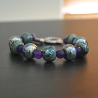 Purple Teal Lampwork Glass Bracelet, Faceted Amethyst Bead Bracelet