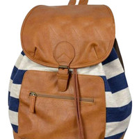 Unique Fresh Knitted Flip Striped Canvas Backpack