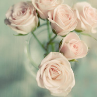 Shabby chic flower photograph- rose, pink, mint, romantic, pastel, pale, muted colors, mint and pink decor, rustic, 8x10, fine art print