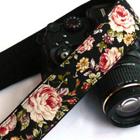 dSLR Camera Strap. Roses Camera Straop. Floral Camera Strap. Women accessories