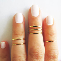 Thin gold ring - Stacking rings, Knuckle Ring, Gold shiny bands, Set of 6 stack midi rings, Gold jewelry, Wire ring, Gold accessories