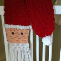 Red Crochet Santa Scarf with Soft White Beard