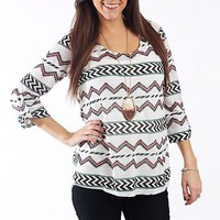 Native Stripes Top, White