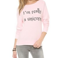 I'm Really A Unicorn Baggy Beach Sweatshirt