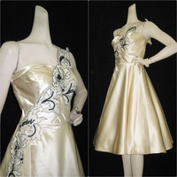 50s Dress Vintage Satin Beaded Applique Strapless Full Skirt Wedding Party S M