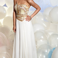 Terani Ivory Beaded Prom Dress P613 -END OF SEASON SALE!