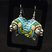 Silver Indian Chief Earrings