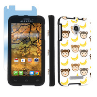 Alcatel One Touch Fierce 7024W Black Case + Screen - Cute Monkey Banana