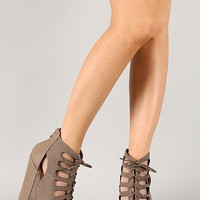 Rosanne-2 Cut Out Lace Up Platform Wedge