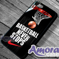 Nike Basketball Never stops - iPhone 4/4s/5 Case - Samsung Galaxy S3/S4 Case - Blackberry Z10 - Black or White