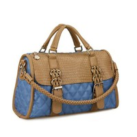 Fashion Tonal Stitching Durable Round Rivets Weave Chain Quilted Shoulder Bag