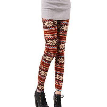 Women's Soft Knitted Tights/Leggings - Multicolored w/ Stripes and Snowflakes