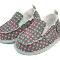 Cruiser Gray/Pink Polka Dot Slip On Shoes