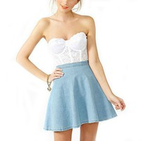 May&Maya Women's A-Line Wash Denim Skater Skirt